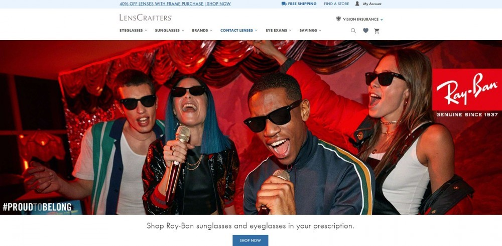 Homepage of Lenscrafters