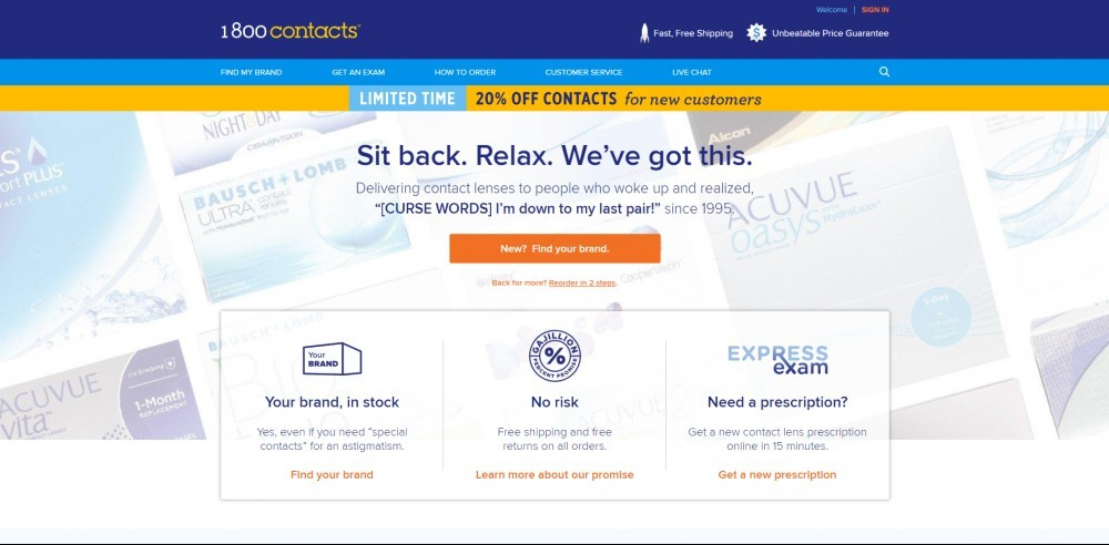 1800Contacts Homepage