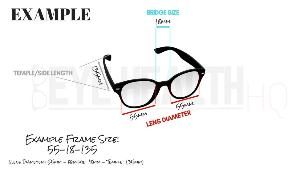 Example of eyeglasses frame measurements