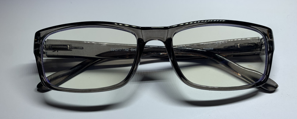 gray rectangular reading glasses