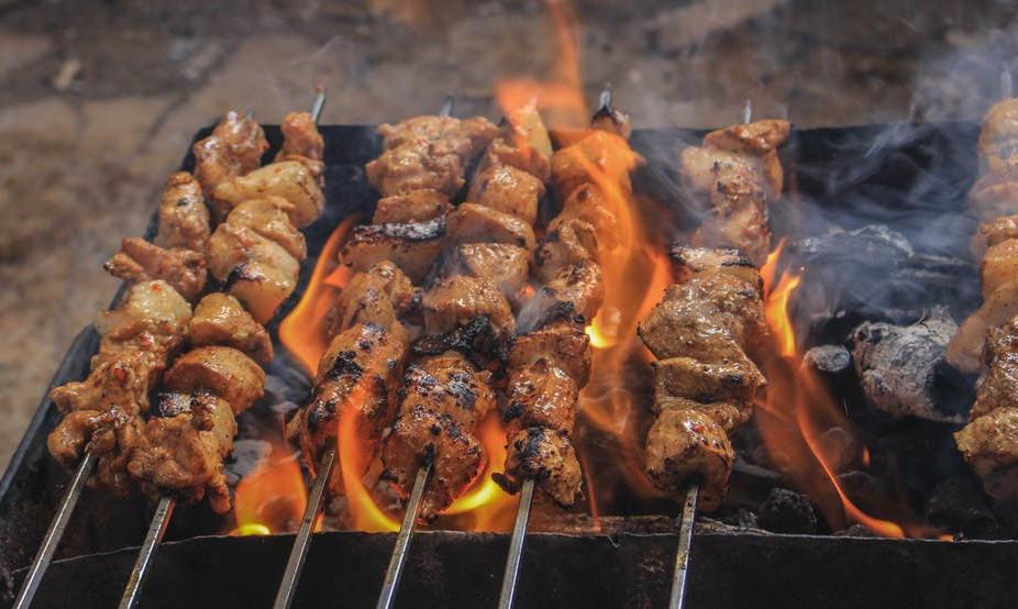 grilled chicken in skillets