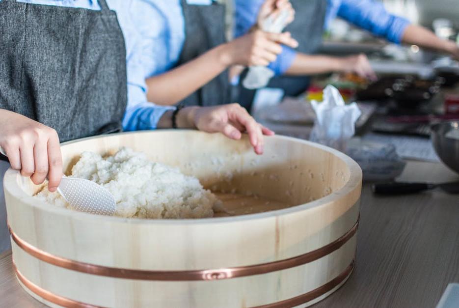 Making rice for sushi