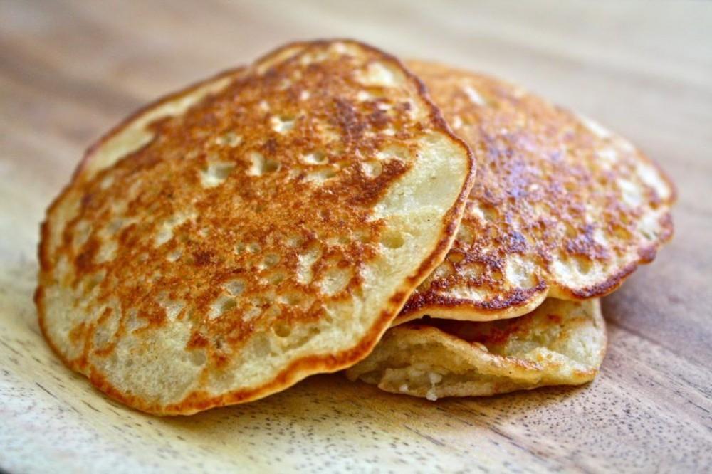 Oatmeal pancakes stack
