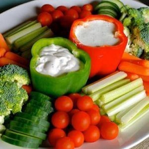 Plate with raw vegetables