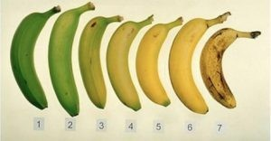 bananas from green to yellow/brown