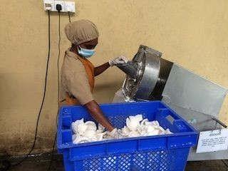 Process-step-4-cutter-machine-grind-of-the-large-pieces-white-coconut-fruit-meat-to-coconut-grater