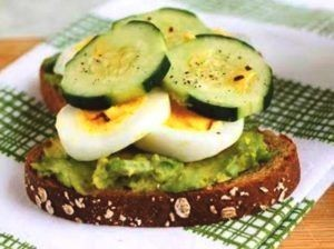 Boiled egg with cucumber and avocado