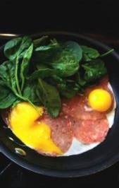breakfast-3-eggs-with-cheese-salami-and-fresh-spinach