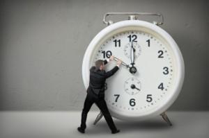 man with a big clock