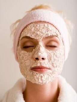 Woman with oatmeal facial mask
