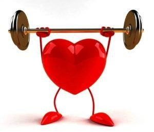 Healthy heart cartoon lifting weights