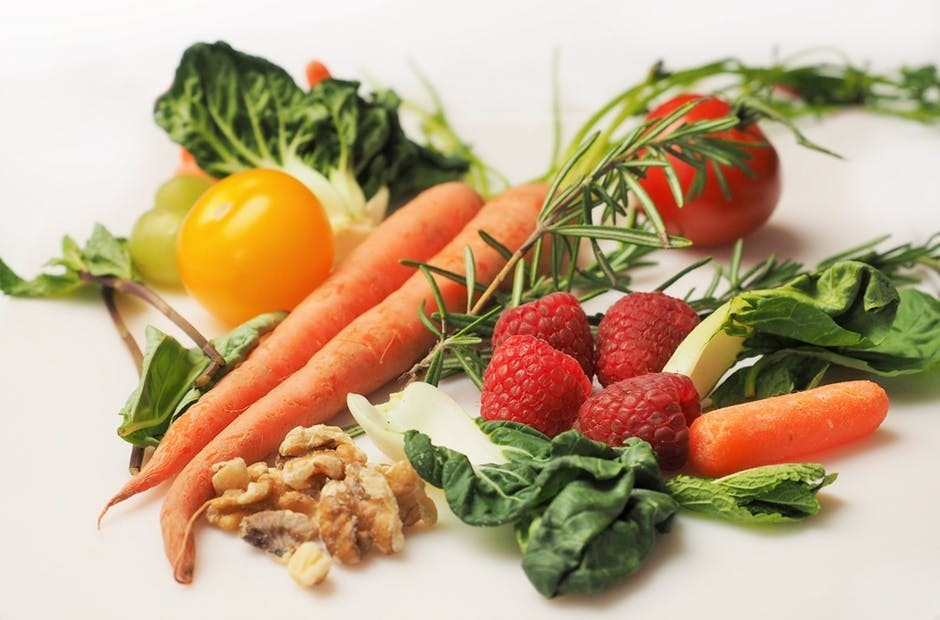 Fresh vegetables and fruit, nuts
