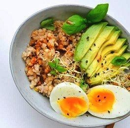 boiled egg with avocado and buckwheat