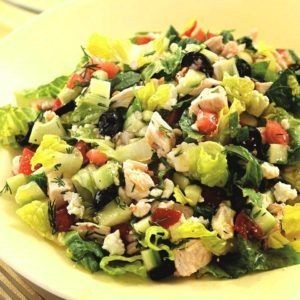 Roman salad with chicken