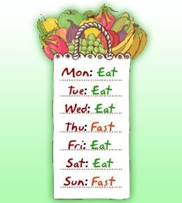week calendar eat 2 days not