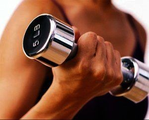 Strength training hand with a dumbbell