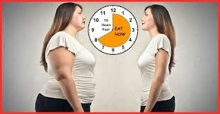 8 hour diet clock with an obese woman and average weight woman