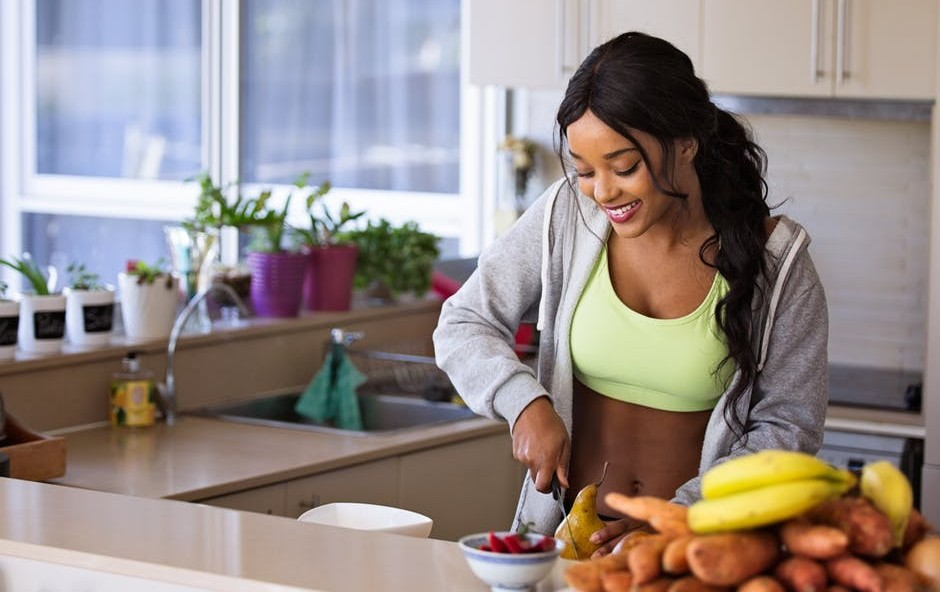 Healthy food prepare in kitchen by woman