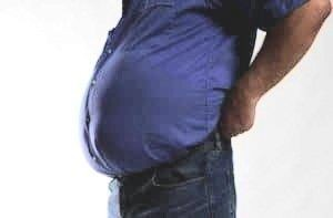 bloated stomach by a men