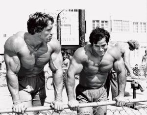 Arnold and Franco bodybuilding friends