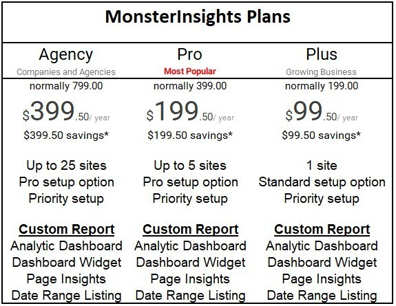MonsterInsights Pricing plan