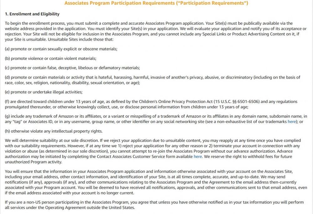 amazon requirements