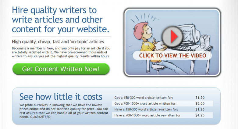 HireWriter Home Page