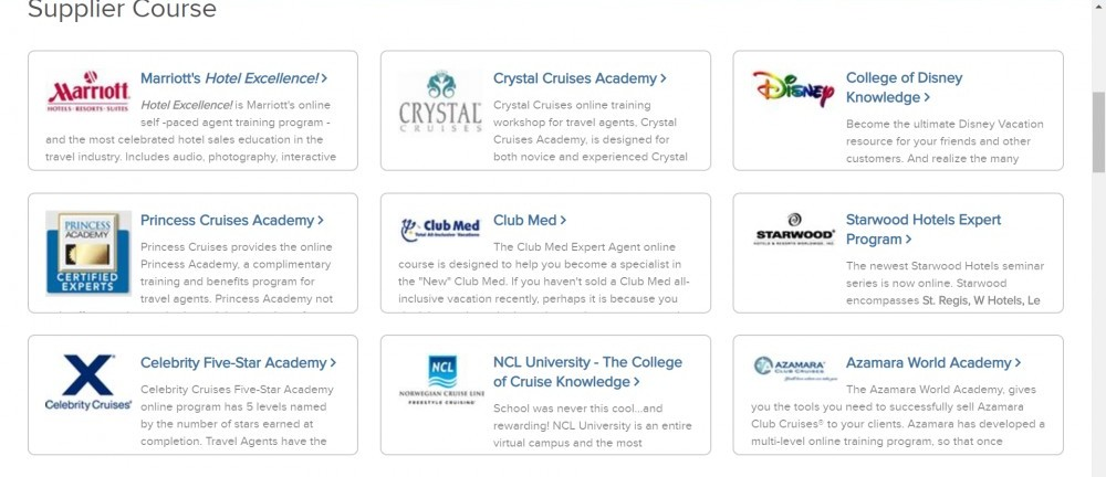 Cruise Course Suppliers
