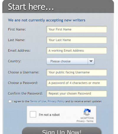HireWriter Sign up form