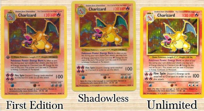 1stEdition/Shadowless/Unlimited Pokemon Charizard