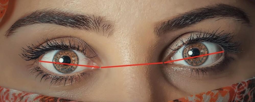 one eye apart