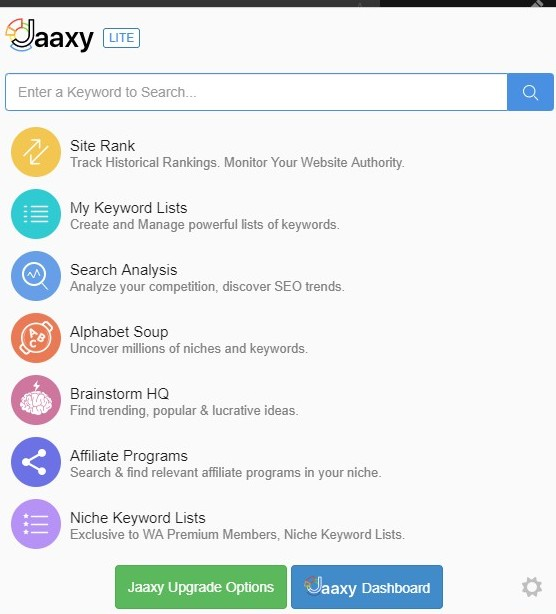 Jaaxy Lite Dashboard