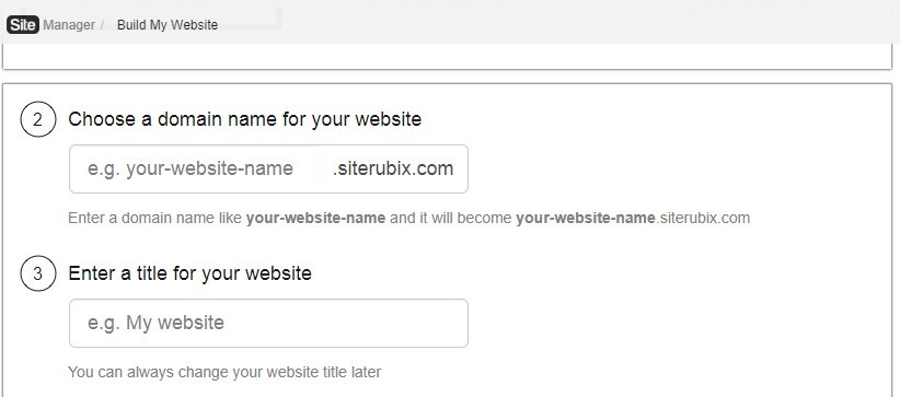 screenshot to choose a domain name and title for website