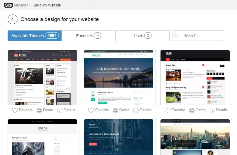 Choose a design theme for your website screenshot