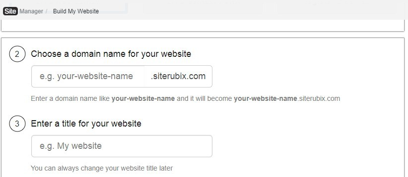 Screenshot of select a domain name and website title