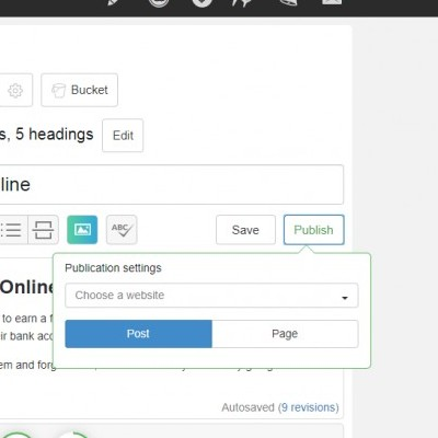 site content screenshot to publish post or page