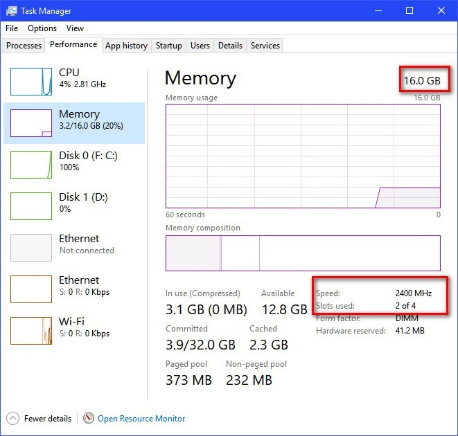 Win10 Task Manager Memory Info