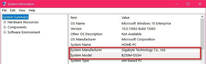 System Information Model Number