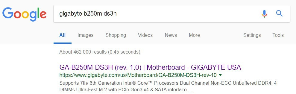 Google results Gigabyte b250m model number
