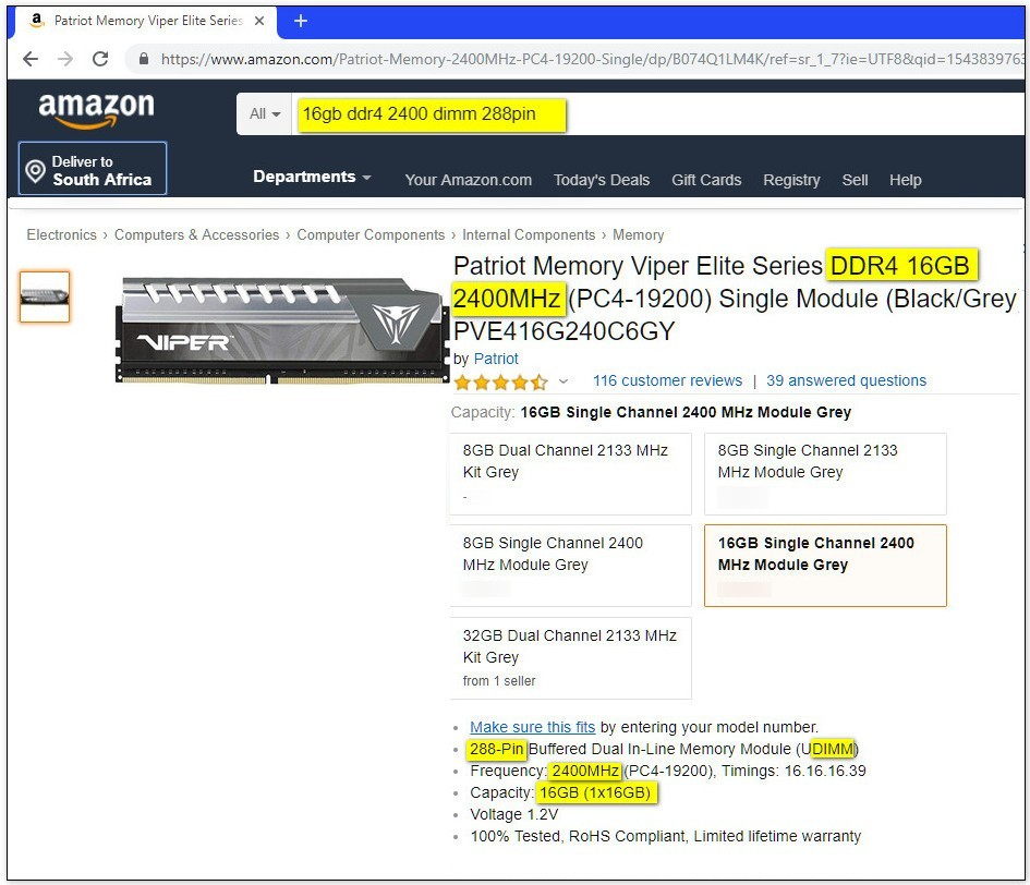 Screenshot of Amazon RAM search