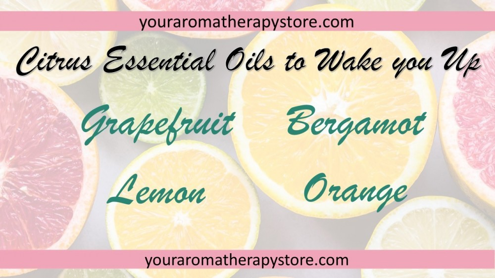 Image with website banner across top and bottom youraromatherapystore.com text says citrus essential oils to wake you up then lists grapeftuit, bergamot, lemon and orange