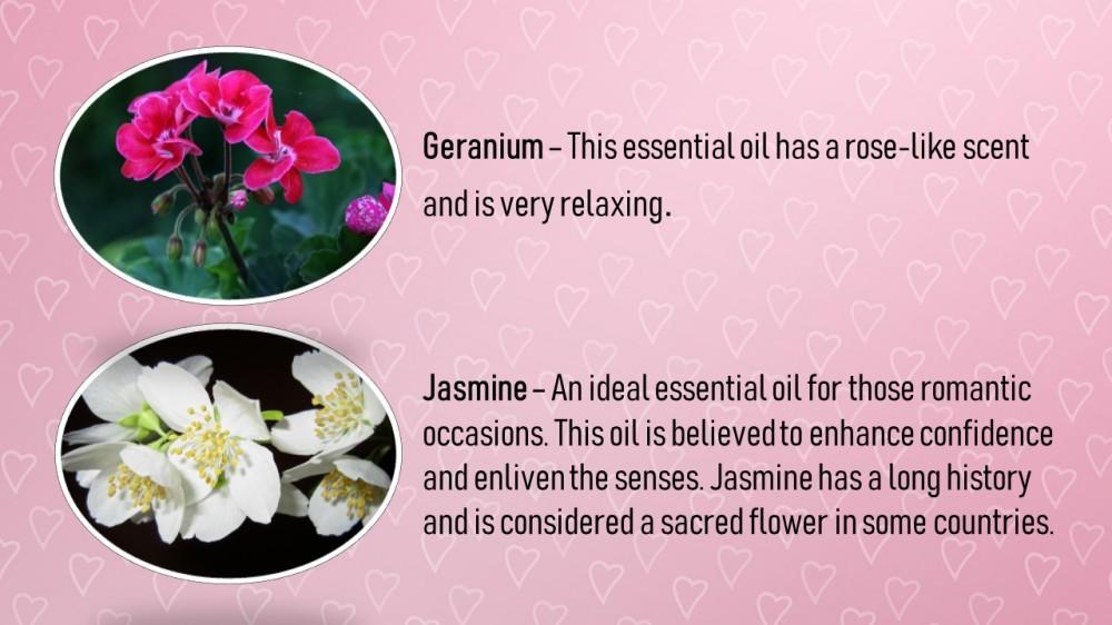 Essential oils for valentine's Day - geranium and jasmine