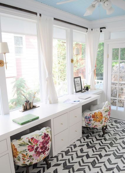 Sunroom converted into a dream office or sewing room  image: the cow spot blog.com