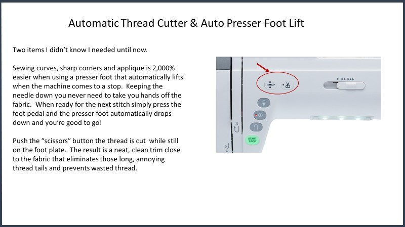 Janome Thread Cutter & Foot Lift