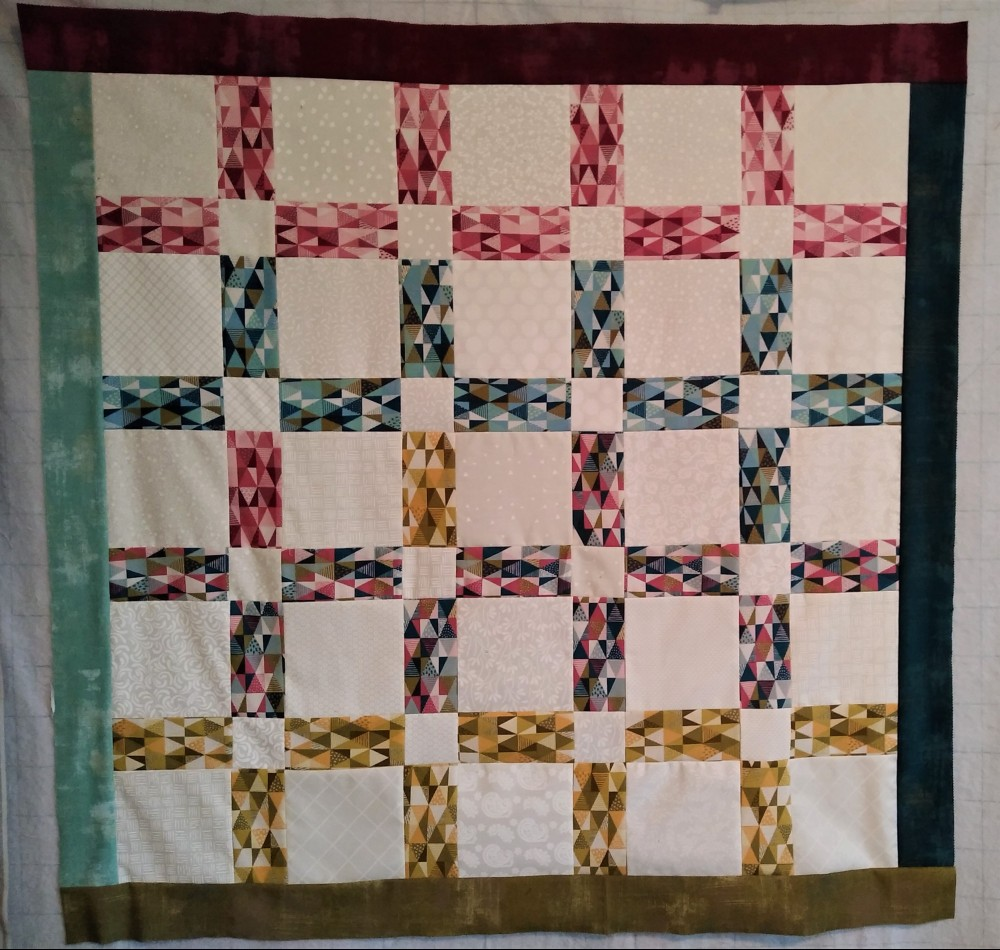 Quilt Top Pieced Using Nova Jelly Roll and Cookie Dough 5' Charm Pack