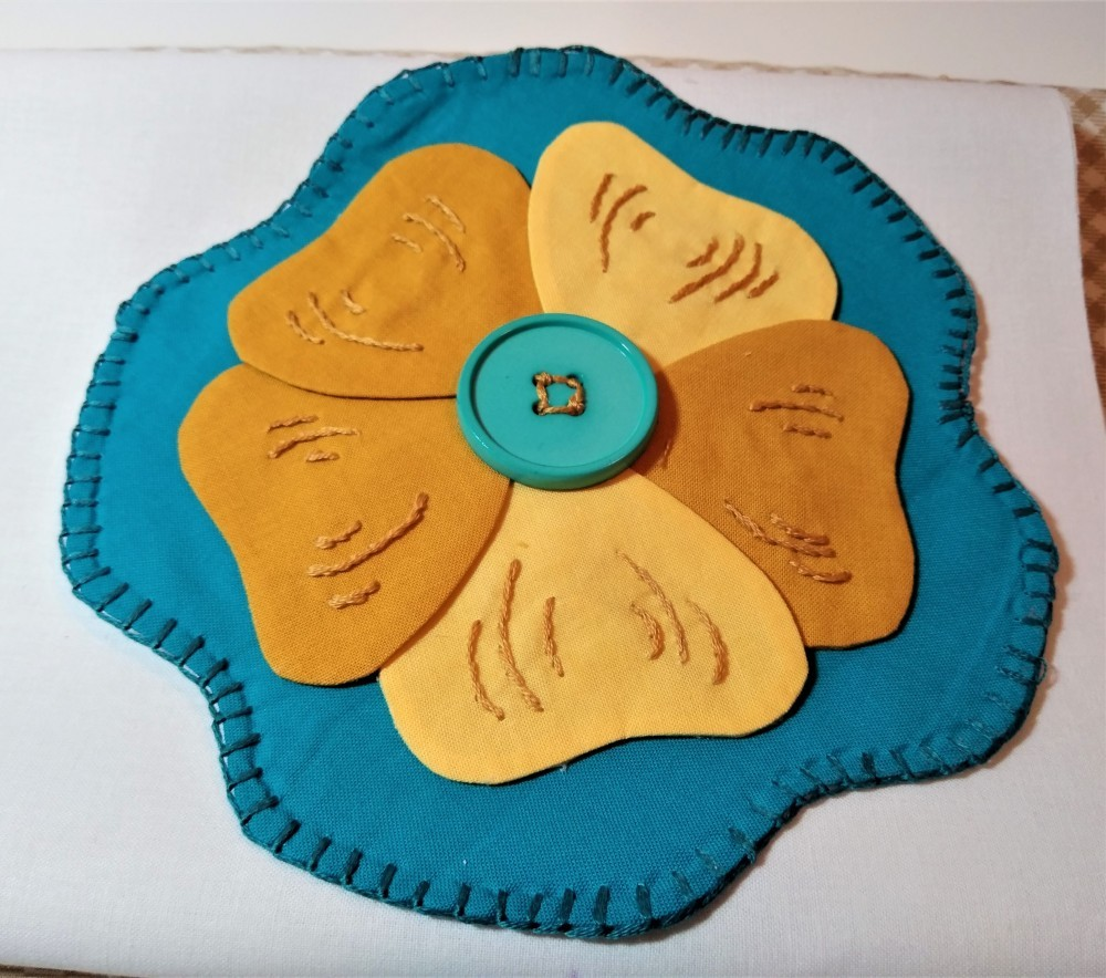 Stitch and Flip Applique flower