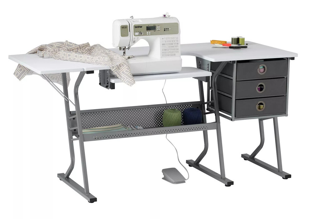 Gray table with white top - Eclipse Ultra Sewing Table by Studio Designs