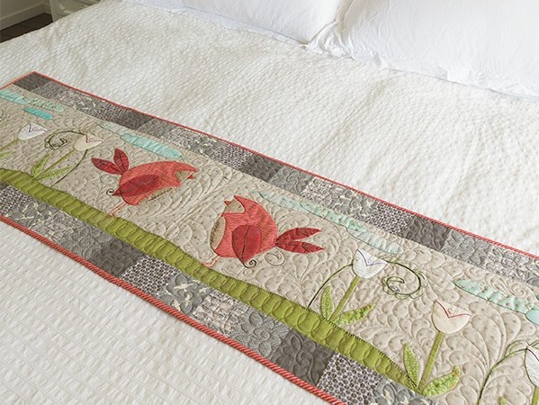 Stitch and Flip Applique Bed Runner