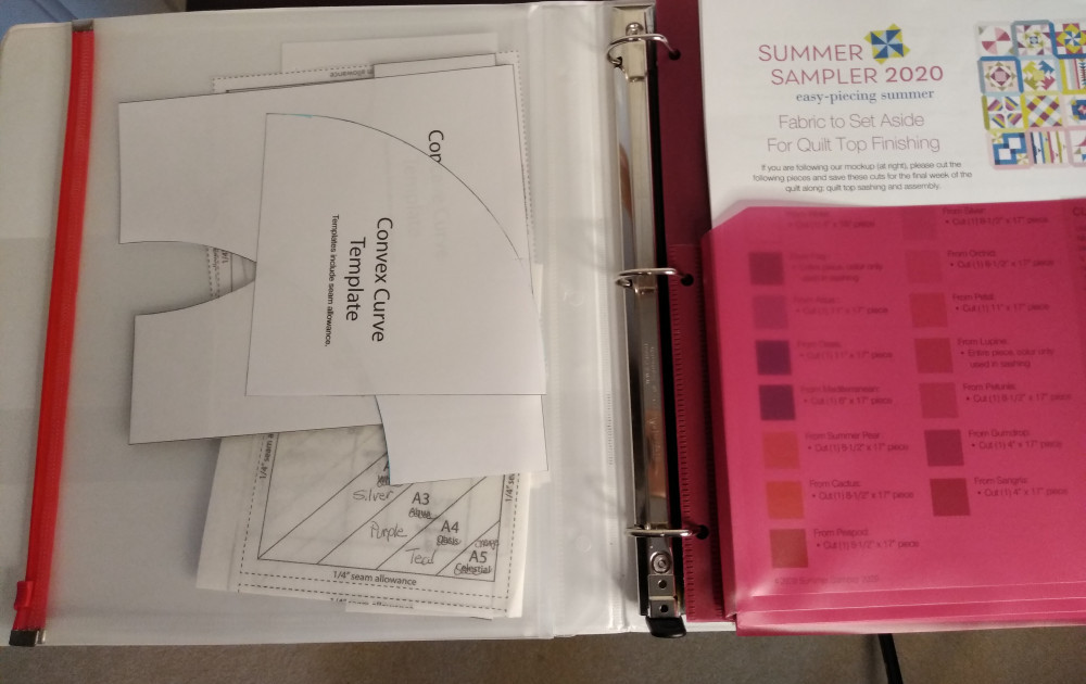 Three ring binder with pocket dividers alnd zip lock divider for storing paper templates