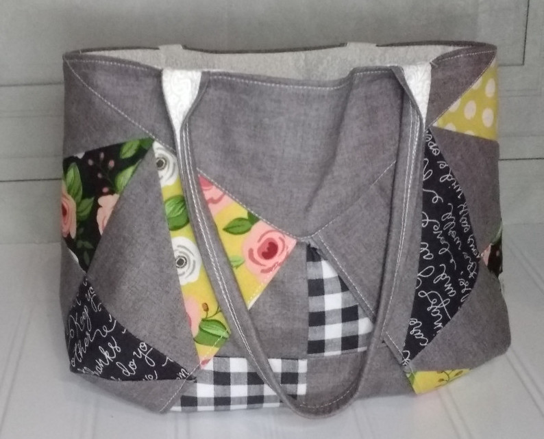 Fabric tote bag using Farmer's Daughter fabric line